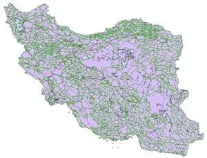 نمایی از نقشه ایران به فرمت Shapefile