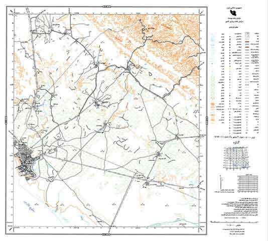 نمایی از یک شیت از نقشه های پوششی 1:25000