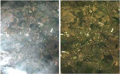 نمایی از یک تصویر ماهواره ای قبل و بعد از انجام تصحیحات