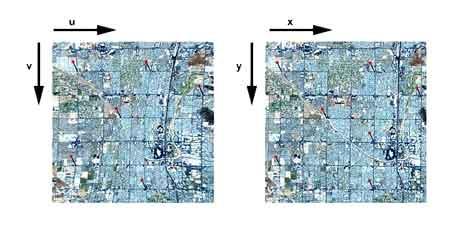 نمایی اغراق شده از اعوجاجات موجود در تصاویر ماهواره ای و تصویر تصحیح شده
