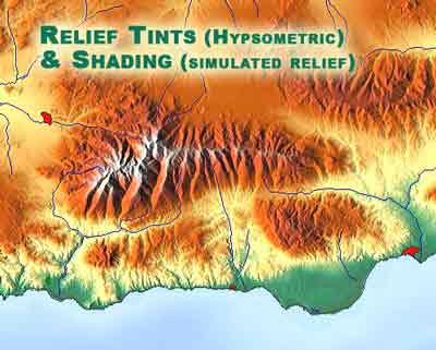 ترکیبی از نقشه هیپسومتری به همراه سایه روشن، برای نمایش بهتر پستی و بلندیهای زمین