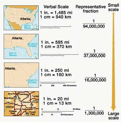 نمایی از تغییرات مقیاس نقشه در نقشه های کوچک مقیاس و بزرگ مقیاس