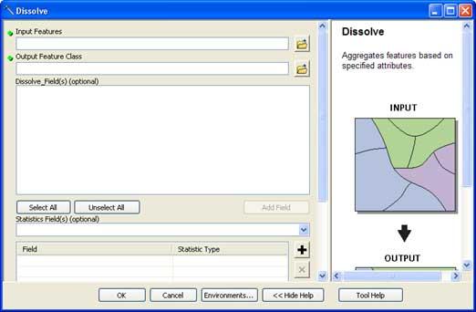 نمایی از رابط کاربر ابزار Dissolve