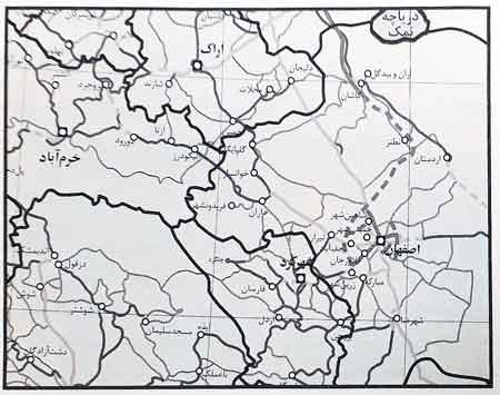 نقشه عمومی مناطقی از استان اصفهان و اطراف آن