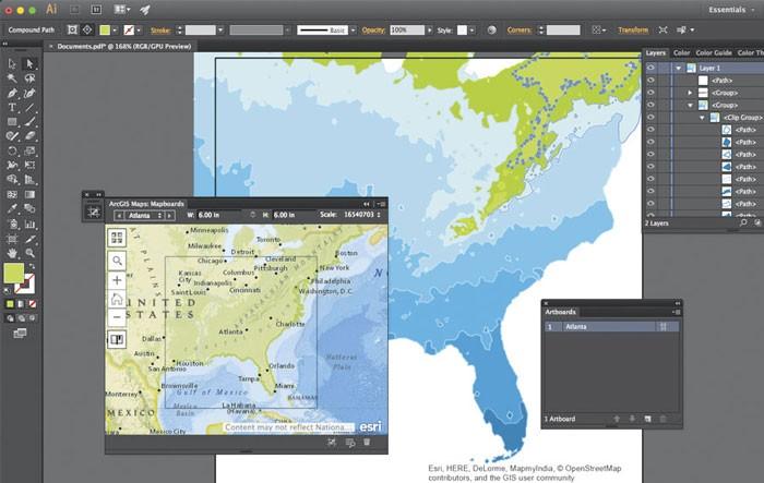 در افزونه ArcGIS Maps کاربران میتوانند نقشه ها را در نرم افزارهای Adobe و با کیفیت مناسب بارگذاری نمایند