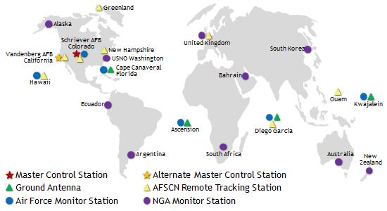 ایستگاههای کنترل زمینی GPS در سراسر جهان