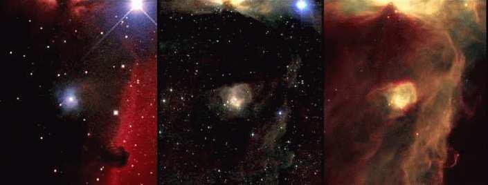 تصاویر فوق به ترتیب، از راست به چپ، تصاویر مرئی، مادون قرمز نزدیک (2MASS)، و میانه (ISO) از سحابی صخره ای (Horsehead Nebula) هستند