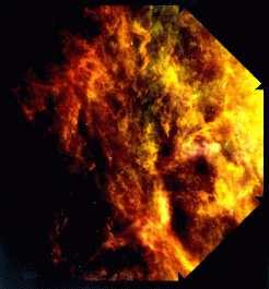 نمای IRAS از ابرهای (غبار) سایروسی که توسط نور ستارهها گرم شده است.
