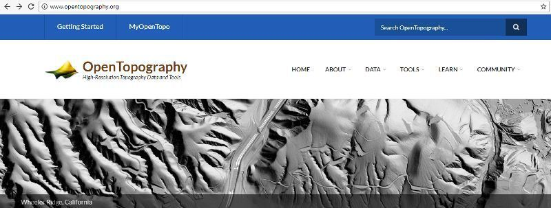 OpenTopography مهمترین منبع دانلود رایگان اطلاعات لیدار(LIDAR)