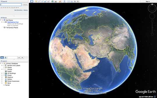 نمایی از صفحه آغازین برنامه گوگل ارث (Google Earth)