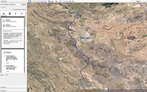 نزدیکترین مسیر بین تهران و اصفهان که توسط نرمافزار Google Earth مشخص شده است