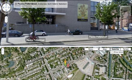 با قرار دادن آدمک در هر نقطه میتوانیم نمای خیابانی در آن محل را مشاهده کنیم